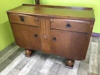 Oak Veneer 1930s Sideboard With Cupboard & Drawers - Can Deliver For £19