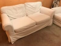 Two x Two Seat Sofas - Plain white