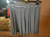 Black and white striped skirt size 12