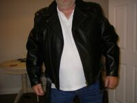 Men's Leather Biker Jacket Size 4XL