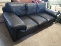 Black Real Leather Large sofa settee Delivery Poss