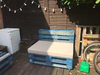 3 outdoor pallet chairs (on wheels with stops)