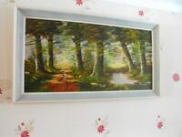 Large Shabby Chic Oil Painting scene of woodland & Small pond