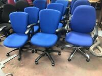Blue Computer Adjustable Chair with Arms