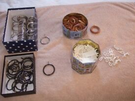 Curtain rings and hooks.