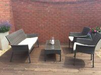 Homebase B&Q rattan grey cream sofa, chair and table set glass
