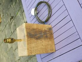 Wooden table lamp made from recycled French Oak
