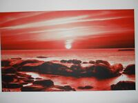 Box Canvas Art Print Red Seascape 34 Inches Wide x 20 inches High