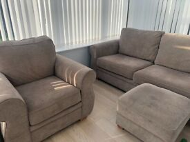 3 seater sofa, chair and storage footstool