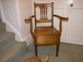 Vintage Farmhouse Solid Wood Commode Chair Complete Weymouth