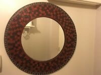 Immaculate condition round crackle mosaic mirror with stone detail