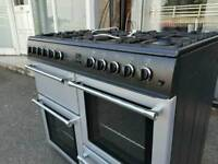 Silver A+++ Class Belling 100cm wide Full Gas 8 Burners Range Cooker