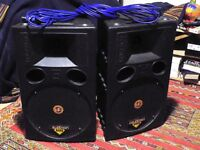 Pair of Celestion R1220 PA passive speakers plus 10m cables