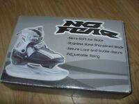 No Fear Junior Adjustable Kids Ice Skates Black / Silver C12-2 Child Size 12 13 1 2 - VGC Worn Once