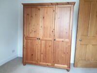 Ikea Leksvik Three Door Wardrobe with Bedside Cabinet