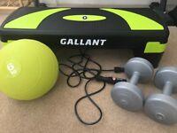 Gallant Step Up Box, Skipping Rope, 2x 2.3kg Dumbells & Mirafit 6kg Medicine Ball