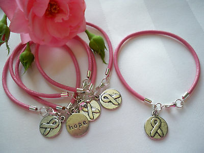 5 CT. BREAST CANCER AWARENESS PINK LEATHER CHARM BRACELETS](Breast Cancer Awareness Bracelets)