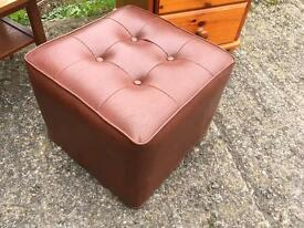 Vintage Retro vinyl burgundy red Button Top Pouffe footstool vgc