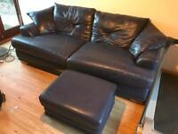 X4 Seater Blue Leather sofa and Footstool