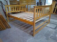 Solid Pine, antique pine finish, Ferrara style bed frame with high foot end, King size, just £80!