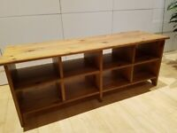 Solid pine TV unit with shelves
