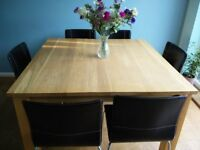 Solid Oak Table & 6 Leather Chrome Legged Chairs