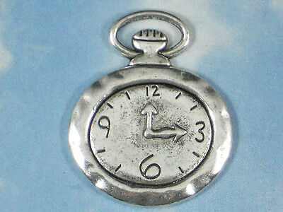 5 Oval Pocket Watch Charms Steampunk Clock Face Timepiece Silver Pendants #P853