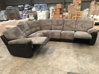 New grey jumbo chord recliner corner sofa