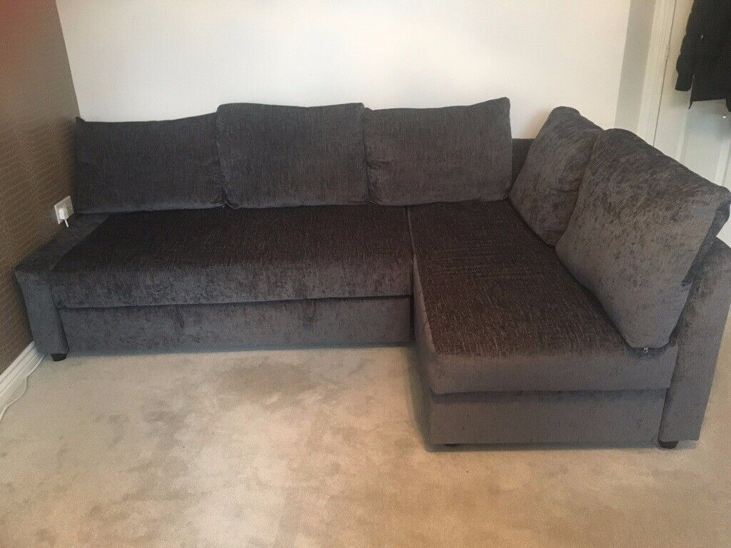 Groovy Dark Grey Ikea 3 Seater Sofa With Chaise Longue Pull Out Bed Storage 5 Matching Pillows In Chesterfield Derbyshire Gumtree Inzonedesignstudio Interior Chair Design Inzonedesignstudiocom