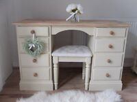 ** PINE DRESSING TABLE OR DESK - NICELY RESTORED IN COTTAGE SHABBY CHIC STYLE **