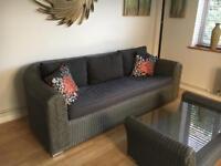 Rattan sofa and coffee table