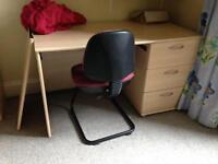 Desk with drawers and chair