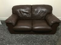 2 Seater Brown leather couch in excellent condition