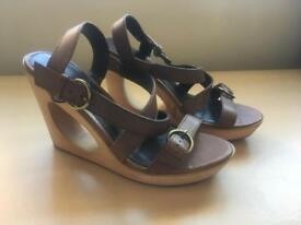 Next Tan Wedges, Size 6