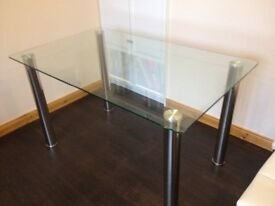 Glass and Chrome Dinning Table £10