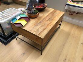West Elm mango wood storage coffee table
