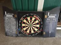 Dartboard, cabinet, darts and mat