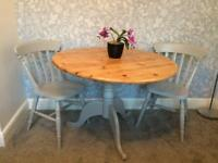 Pine dining table set with 2 chairs - grey - farmhouse