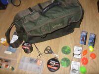 Leeda Fishing Tackle Bag + Assorted Lures, Line, Weights & Floats Bundle / Lot