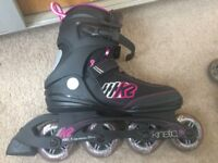 K2 Kinetic 80 Women's inline skates - Hardly used - Black/Pink - UK 7