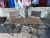 cast iron garden furniture / outdoor furniture / patio / garden table and chairs / vintage garden