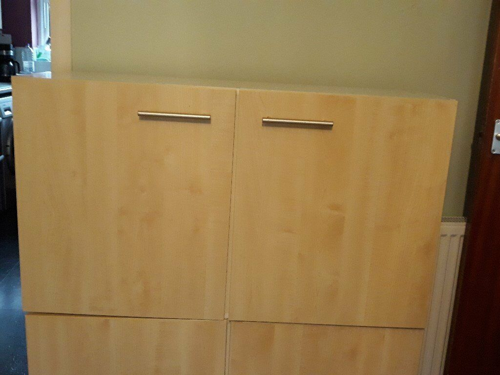 2 Howdens Double Kitchen Wall Units With Pale Beech Colour