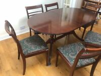 Formal dinning table and six chairs (perfect size for a formal bay window) extendable 6-8 people