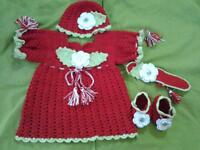 Baby handmade crochet dress 1-2 years only worn once include hat, hair band & shoes