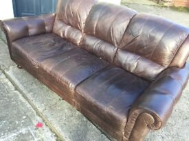 Lovely three seater sofa in antiqued leather - nice clean condition - Carlisle centre - can deliver