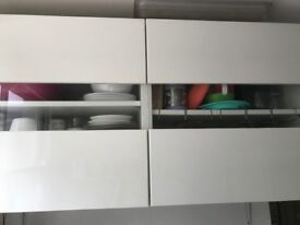 Ikea BESTA Storage combination with white gloss and glass doors 64 x 40 x 120 cm- Good condition £80