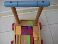 Wooden Baby/Toddler Walker Bright Coloured Shaped Blocks - Complete