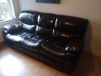 Dark brown leather 3 seater recliner sofa