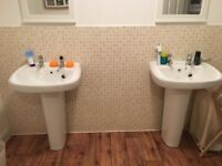 2 Twyford White Sinks and pedestals