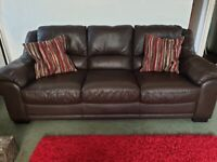 Brown 3 seater leather settee